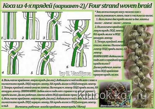 схема плетения косы с лентой видео