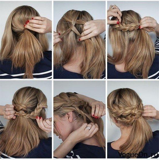Косы на коротких волосах себе своими руками 941